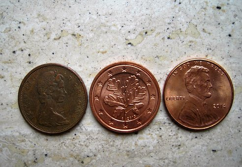 Three Similar Money Tees, Canadian Cent, Euro-cent