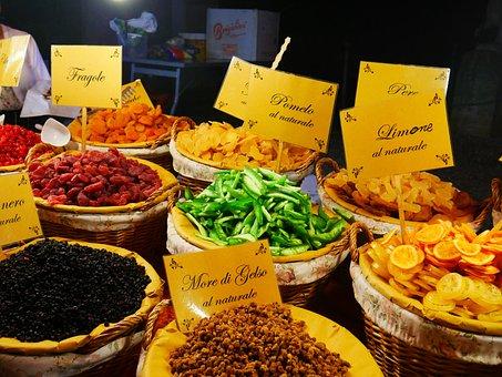 Fruits, Fruit, Dried, Market, Market Stall, Vegetable