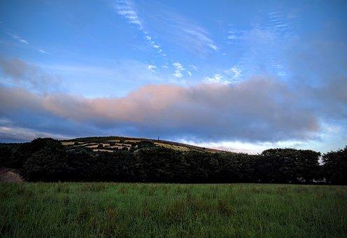 Sunset, Clouds, Hills, Hillside, Cornish, Cornwall