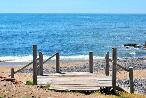 Water, Sea, Bridge, Pontoon, Holiday, Blue, Pebbles