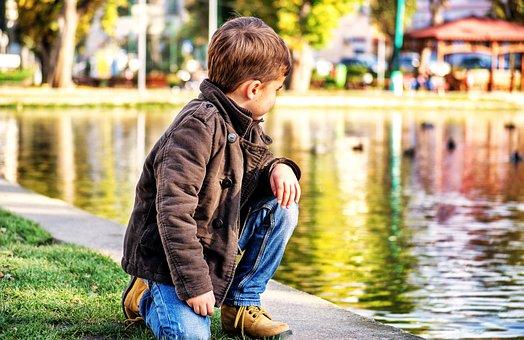 Toddler, Child, Lake, Park, Child Looking Away