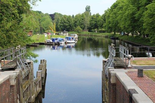 Floodgate, Lock, Water, Germany, Emden, Wall, Gate