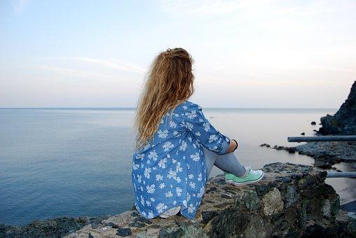 Girl, Look, Sky, Sea, Look Away, Long Hats, Blonde