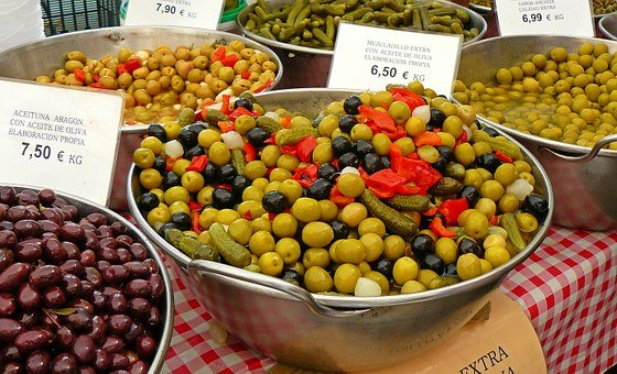 Olives, Market, Drupes, Mediterranean, Delicious, Eat