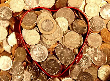 Money, Coins, Heart, Ruble, Euro, Handful, Economy