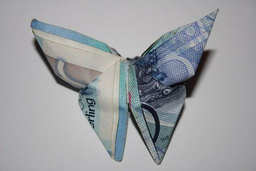 Pounds, Gibraltar, Money, Currency, Butterfly, Origami
