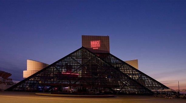 Rock And Roll Hall Of Fame, Landmark, Night, Evening