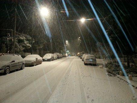 Snow Storm, Snow, Snowstorm, Nighttime, Freeze