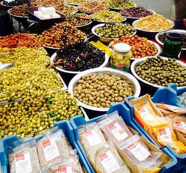 Olives, Market, Food, Mediterranean, Vegetable, Green