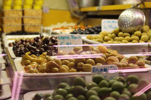 Olives, Market, Spain, Barcelona, Farmers Local Market