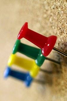 Tacks, Colorful, Green, Pin Board, Office, Planning