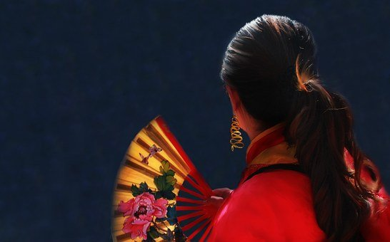 Woman, Red, Fan, Gold, Hair, Ponytail, Chinese New Year