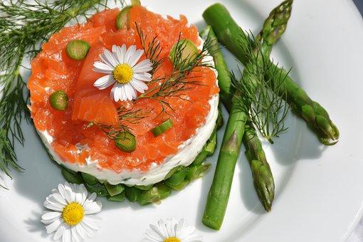Asparagus Green, Starter, Asparagus Salad, Salmon