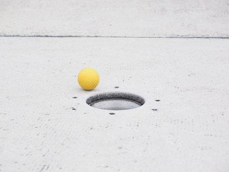 Ball, Mini Golf Ball, Hole, Putting, Target Circle