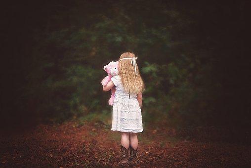 Girl, Woods, Backside, Looking Away, Child, Teddy Bear