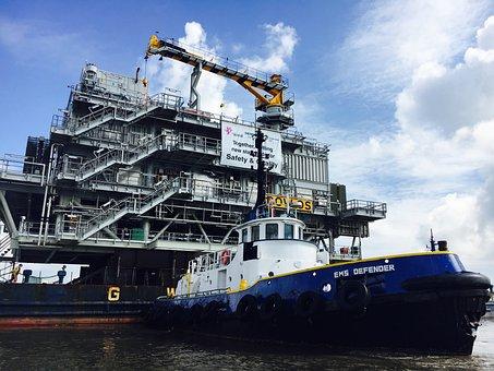 Tug Boat, Large Barge, Boat, Tug, Vessel, Industrial