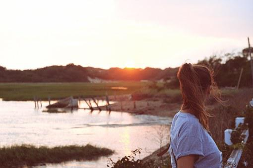 Sunset, Setting, Sun, Lake, Water, Glow, Lakeside, Girl