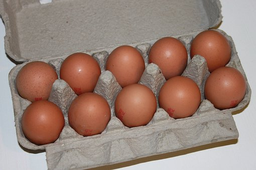 Brown, Cartons, Eggs, Hens, Paper, White, Food, Drink