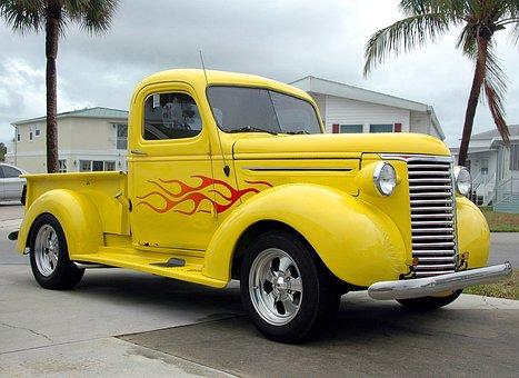 Pickup Truck, Customized, Yellow, Pin Striping, Truck
