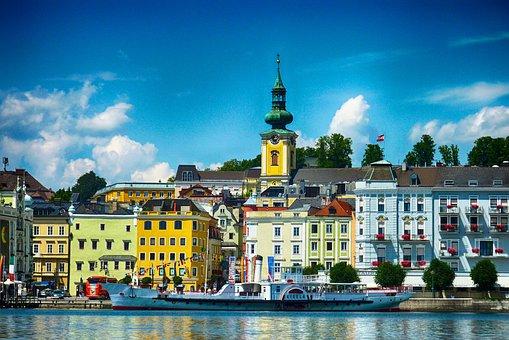 Gmunden, Austria, Town, Buildings, Architecture, Sky