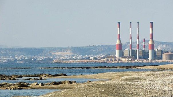 Cyprus, Ormidhia, Coast, Dhekelia Power Plant