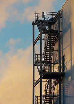 Stairs, Steel Stairs, Hall, Factory, Industry, Building