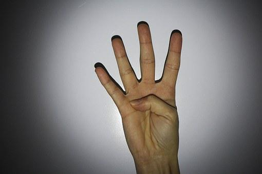 Hand, Finger, Four
