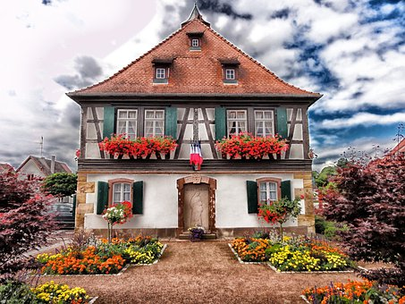 Seebach, France, House, Home, Architecture, Flowers