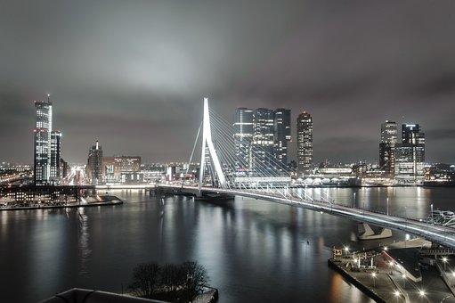 Rotterdam, Netherlands, Holland, Landscape, City, Air