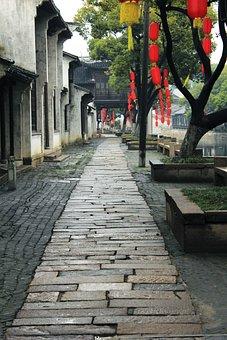 Wuxi, Rain, Huishan Ancient Town, Lane, Stones Road