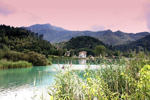Lake, Mountains, Nature, Landscape, Sky, Abendstimmung