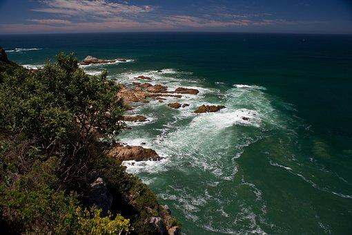 Nysna Heads, Green, Sea, Rocks, Ocean, Seascape, Curved