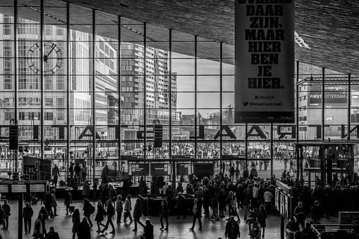 Rotterdam, Central Station, Outside View, Lines, People
