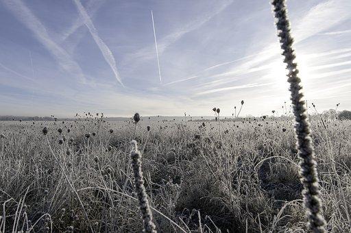 Christmas, Sun, Frost, Ice, Landscape, Sky, Clouds