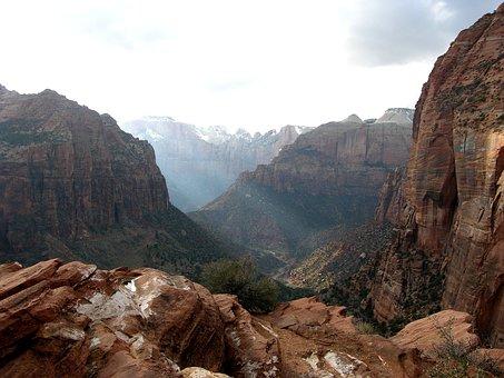 Utah, Mountains, Valley, Ravine, Gorge, Sky, Clouds