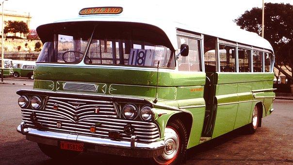 Bus, Oldtimer, Vehicle, Chrome, Green, Retro, Vintage