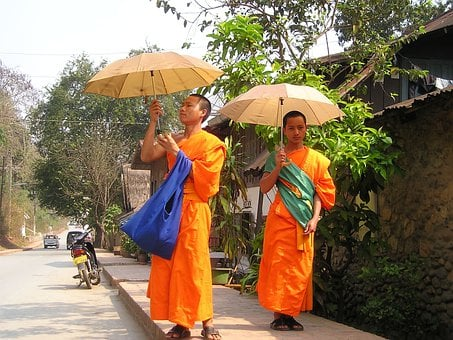Monks, Buddhists, Orange, Parasol, Sun Protection, Laos