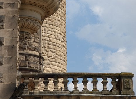 Lake Dusia, Castle, Balcony, Sky, View, Terrace