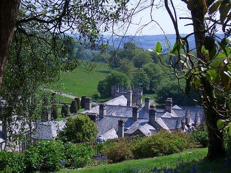 Castle, Park, Trees, Lanhydrock House, United Kingdom