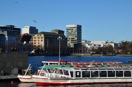 Hamburg, Water, Ship, Germany, City, Lake, Alster
