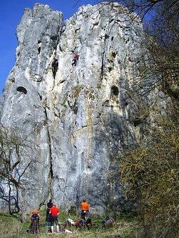 Rock Climbing, Bind Stone, Climber, Sky Blue