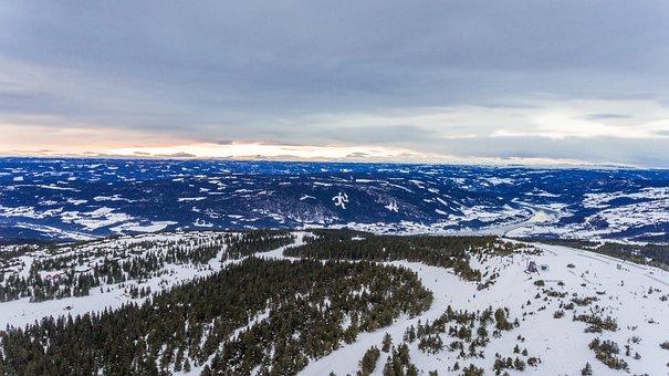 Winter, Landscape, Aerial, Skiing, Resort, Mountain