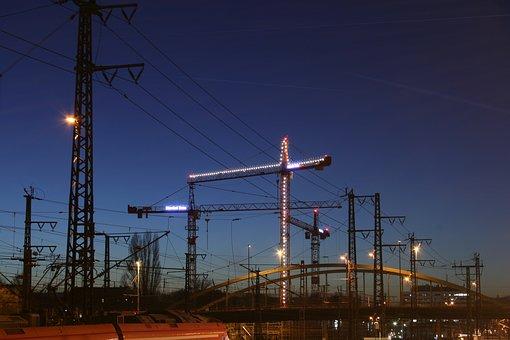 Crane, Site, Baukran, Sky, Construction Work