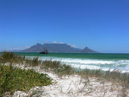 Table Mountain, Cape Town, Sand, Dunes, Blouberg, Beach