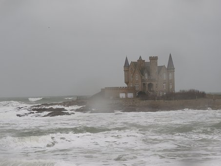 Quiberon, Castle, Sea, Wave, Storm, Scum, Brittany