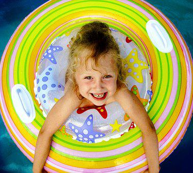 Inflatable, Circle, Water, Pool, Girl, Baby, Smiling