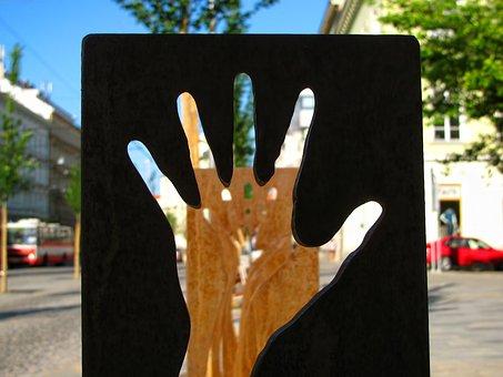 Fingers, Hand, Silhouette, Street Art, Sculpture