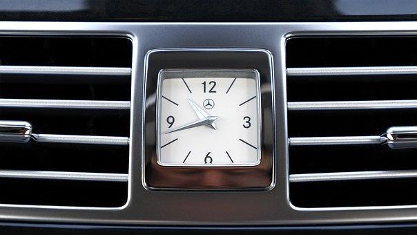 Mercedes, Interior, Clock, Car, Display, Luxury, Design