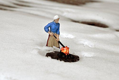 Woman, Fire, Outdoors, Flame, Cold, Winter, Pioneer