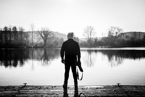 Minimal, Person, Lake, Reflect, Me, Alone, Solo